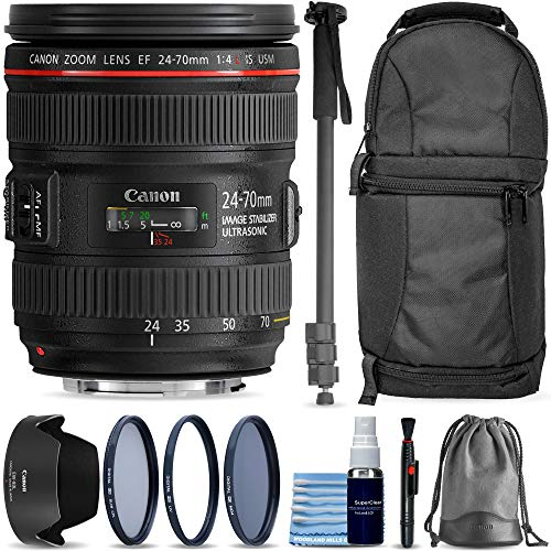 Canon EF 24-70mm f/4L is USM Lens + Sling Backpack + 3 Piece Pro Filter Kit + Lens Pen + Lens Cleaning Kit 10-Piece Pro Travel Bundle