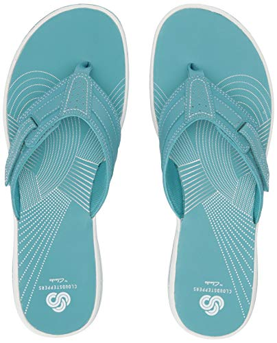 (CLARKS Women's Brinkley Reef Flip-Flop, Aqua sythetic, 080 M US)