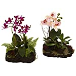 Nearly-Natural-4835-S2-Orchid-Island-Floral-Arrangement-Set-of-2