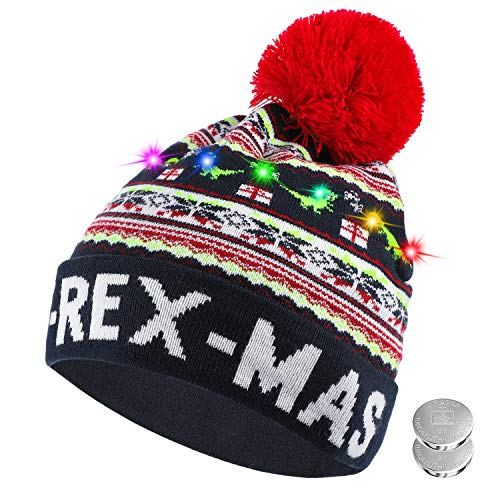 TAGVO LED Light Up Hat Beanie Knit Cap, 6 Colorful LED Xmas Christmas Hat Beanie, Winter Snow Hat Sweater Ugly Holiday Hat Beanie Cap