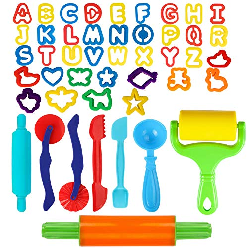 GiBot Dough Tools, 46 Piece Assortments Large-Size Pizza Dough Tools Modeling Dough Tools for Kids and Children, Large, Colorful and Non-Toxic