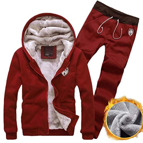 Sweatsuit Shirt Pants - Faionny Men Tracksuit Warm Fleece Hooded Cardigan Coat Casual Sweatpants Hoodies+Pants Sweat Suit