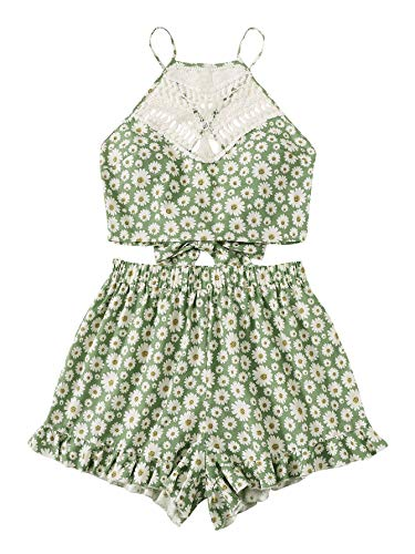 (Milumia Women Lace Tie Back Floral Cami Crop Top and Frilled Shorts 2 Piece Set Romper Green S )