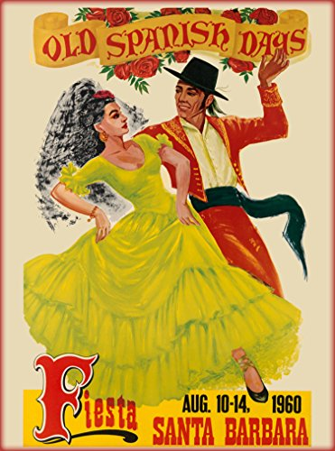 A SLICE IN TIME 1960 Santa Barbara Old Spanish Days Fiesta California Vintage United States of America Advertisement Travel Art Poster. Poster measures 10 x 13.5 inches.