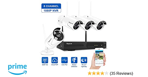 Rraycom Security Camera System Wireless,8CH 1080P NVR with 4Pcs 960P 1 3MP  Outdoor/Indoor WiFi Surveillance IP66 Weatherproof IP Cameras,65ft Night