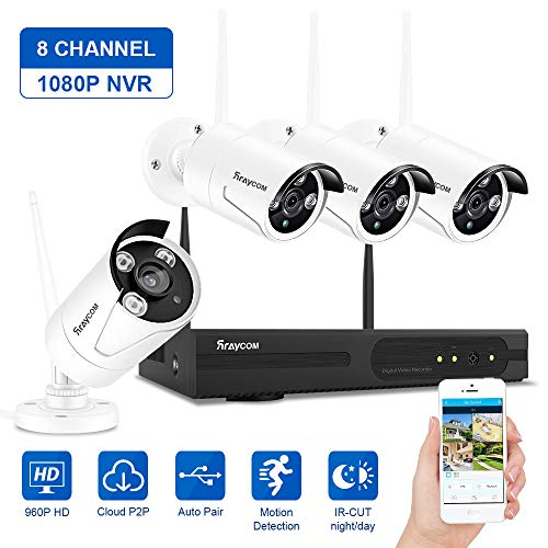 Rraycom Security Camera System Wireless,8CH 1080P NVR with 4Pcs 960P 1.3MP Outdoor/Indoor WiFi Surveillance IP66 Weatherproof IP Cameras,65ft Night Vision, App Remote View, P2P,Plug Play,No HDD