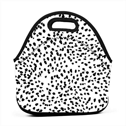 Pattonef Black and White Animal Print Dalmatian Spot Spots Dots Personalized Neoprene Bento Bag Waterproof Insulated Men and Women Working Picnic Trip (Personalized Dalmatian)