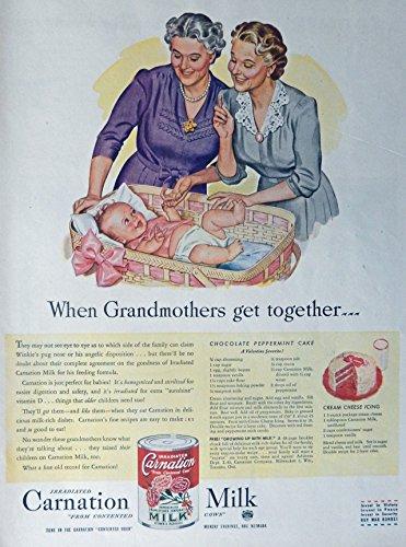 Carnation Milk, 40's Vintage Print Ad. Color Illustration, (Baby in Basket) Original Rare 1945 Life Magazine Art