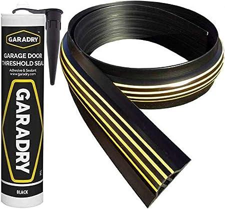 Garage Door Threshold Kit Vinyl Seal Block Dirt Protection Original Durable Gray