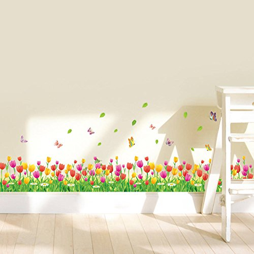 BIBITIME Blossoming Tulip Wall Decals Flower Butterflies Border Living Room Skirting Stickers for Nursery Lovers Couple Bedroom Background Decrations DIY Art Mural