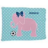 Soccer Baby & Infant Blanket | Soccer Elephant with Bow | Seafoam
