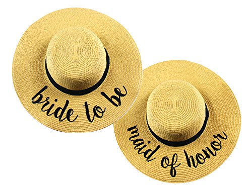 H-2017-2-BTB.MOH Bridal Sun Hat Bundle - Bride to Be, Maid of Honor
