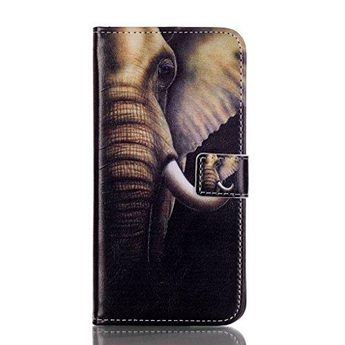 PowerQ Multi buntes Muster Serie PU-Kunstleder Fall Hülle Holster Case < Big ear elephant | für IPhone 6 6S IPhone6S IPhone6 >           mit schönen hübschen Muster Druck Detailzeichnung Geldbörse Tasche Handyt
