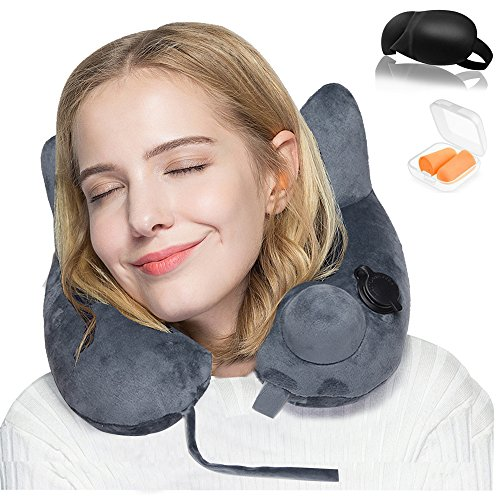 Inflatable Travel Pillow ,New Adjustable Soft Washable Velve