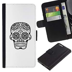 Be-Star la tarjeta de Crédito Slots PU Funda de cuero Monedero caso cubierta de piel Para Apple (5.5 inches!!!) iPhone 6+ Plus / 6S+ Plus ( Black White Minimalist Skull Symbol )