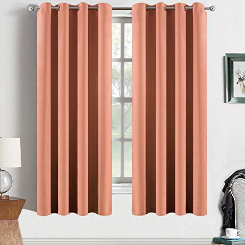 (Yakamok Coral Orange Room Darkening Blackout Curtains Thermal Insulated Drapes Solid Grommet Top Window Curtain Panels for Girls' Bedroom, 2 Tie Backs Included(52x63 Inch, Coral Orange, One Pair))