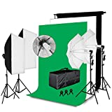 Happybuy Photo Studio Lighting Kit Soft Box 10x5.3Ft Backdrop 5500K Light Bulbs Stands Umbrella Reflectors Background Support System Portrait Video Photography Shooting Lighting Set