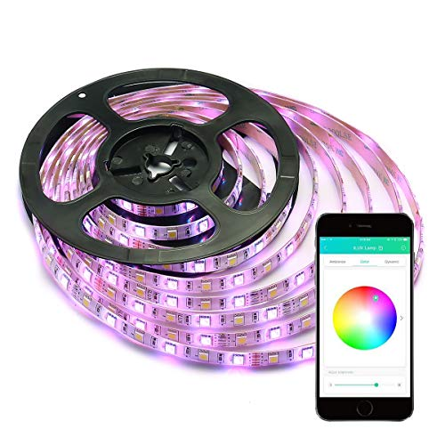 LE iLUX Smart RGBW Light Strip, 16.4ft Ribbon Light, 300 LED, RGB+Daylight White Color Changing, Dimmable, Waterproof, Bluetooth & Smartphone APP Remote Control, for Home, Party, Christmas and More