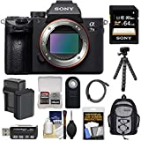 Sony Alpha A7 III 4K Digital Camera Body with 64GB Card + Battery & Charger + Backpack + Tripod + Remote + Kit