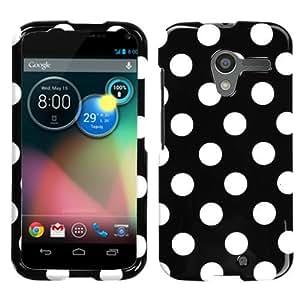 MYBAT White Polka Dots/Black Phone Protector Cover for MOTOROLA Moto X