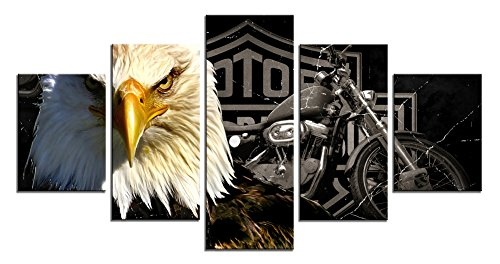 1 Art Print - Meigan Art-Modern American Eagle Motorcycle Canvas Art Print for Wall Decoration, Set of 5 Panels, Ready to Hang (12X32 Inch x 1 , 12X24Inch x 2 , 12X16Inch x 2)