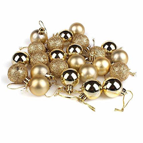 GOOTRADES Set of 24 Mini Shatterproof Christmas Balls Tree Ornaments Party Decoration, 3cm/1.18'' (Gold) Ball Mini Pendant