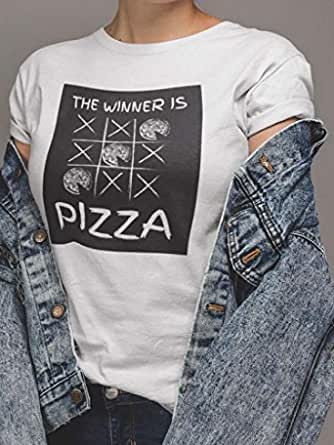 عتيق تيشيرت نسائي قطن بتصميم ذا وينر از بيتزا، ابيض، L