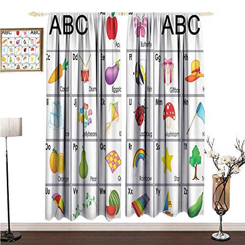Extra Wide Curtains Kids Funny Educational Alphabet Letters Kite Xylophone Ladybug Zucchini Drum Lovers Art Prints Nursery Decor Design W96 xL96 Children's Bedroom Curtain