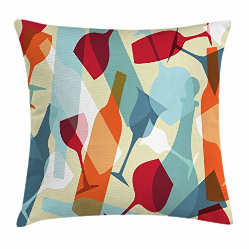 Wine Throw Pillow Cushion Cover by Ambesonne, Modern Design Colorful Silhouettes of Glasses Bottles Fun Party Artistic, Decorative Square Accent Pillow Case, 24 X 24 Inches, Light Blue Ruby - Style Glasses Current