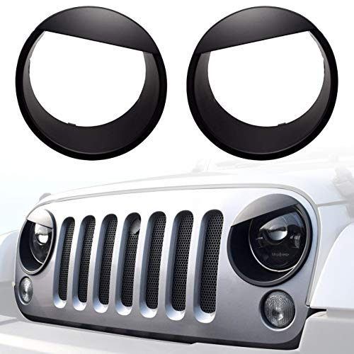 DIYTuning Angry Eyes Front Lights Trim Cover Headlight Bezels for Jeep Wrangler JK JKU Unlimited Rubicon Sahara Sport ()