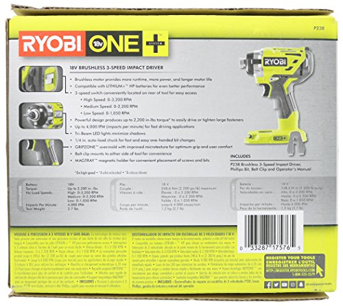 Ryobi P238 18V One+ Brushless 1/4 2,000 Inch Pound, 3,100 RPM Cordless Impact Driver w/ Gripzone Overmold, Belt Clip, and Tri-Beam LED (Power Tool Only, Battery Not Included) by Ryobi (Image #7)