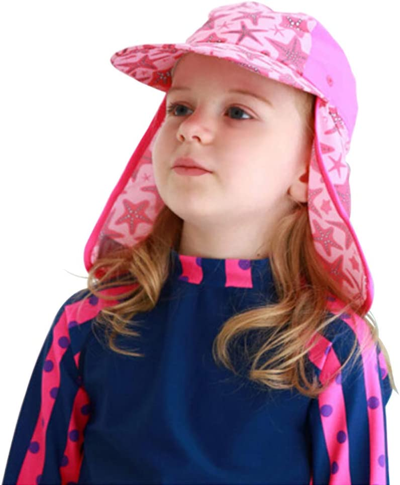 Qchomee Baby Kids Legionnaire Swim Hat UPF 50 Kids Sun Hat for Girls Boys Bucket Summer Wide Brim Travel Beach Hat UV Sun Protection Sun Hat Flap Cap for Travel Adjustable Chin Strap 3-12 Years