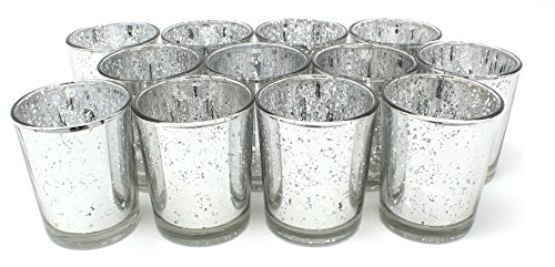 Ms Lovely Silver Glass Votive Tealight Candle Holders - Set of 12-2.5