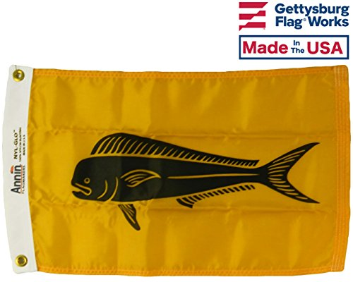 12x18 DolphinFish Boat Fishing Flag, All Weather Nylon for Outdoor, Made In USA