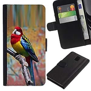 A-type (Parrot Red Parolee Tropical Bird Branch) Colorida Impresión Funda Cuero Monedero Caja Bolsa Cubierta Caja Piel Card Slots Para Samsung Galaxy Note 3 III