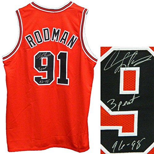 71f33fd8a4b5 best Autographed Dennis Rodman Jersey - Red Throwback Custom w 3 Peat 96 98  - Autographed