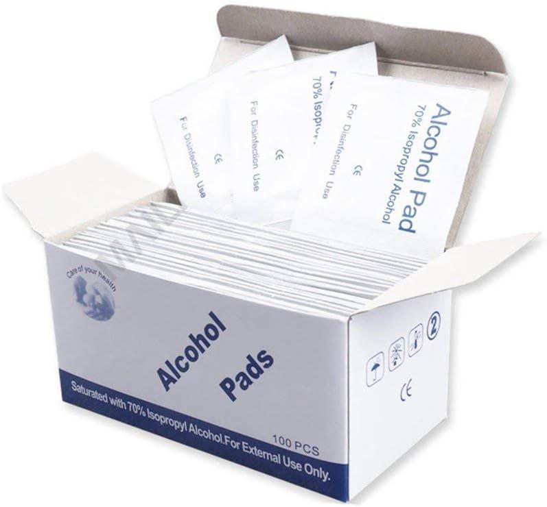 Hehilark Coton 100pcs jetable Coton de d/ésinfection Alcool jetable Coton st/érilisation Alcool lingette Pad Premiers Secours d/ésinfection