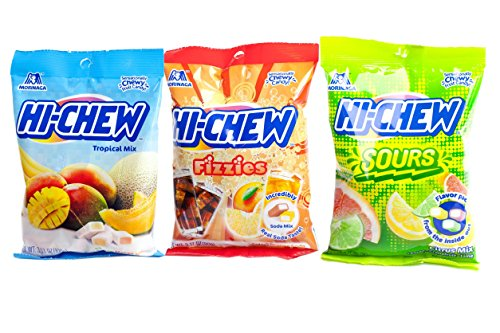 Hi Chew Candy 3 Flavor Variety Pack Bundle (Tropical Mix, Sours, Fizzies) by Hi-Chew