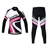 Santic Women's Fleece Thermal Long Sleeve Cycling Jersey And Padded Pants Sets Size XL