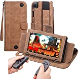 Nintendo Switch Case Leather, Miniko(TM) Deluxe Vintage Shockproof Folio Travel Case Cover with Card Holder Kickstand Wristlet Strap Magnetic Design for Nintendo Switch Console and Joy-Con Brown