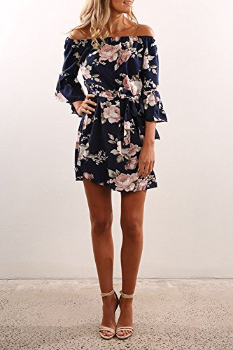 60b003358cb AKABELA Women s Summer Dresses Long Sleeves Off Shoulder Dress Flowers  Pattern Short Beach Dress Mini Dress  Amazon.co.uk  Clothing