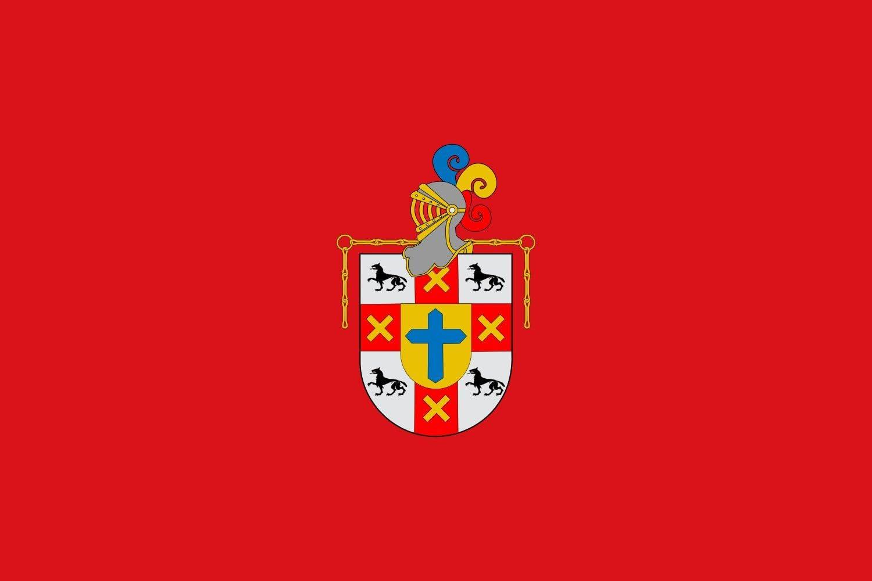 magFlags Bandera Large ¨Bandera del municipio del Valle de Egüés Navarra- España paño Rojo de Proporciones 2/3 con el Escudo Municipal en el Centro | Bandera Paisaje: Amazon.es: Jardín
