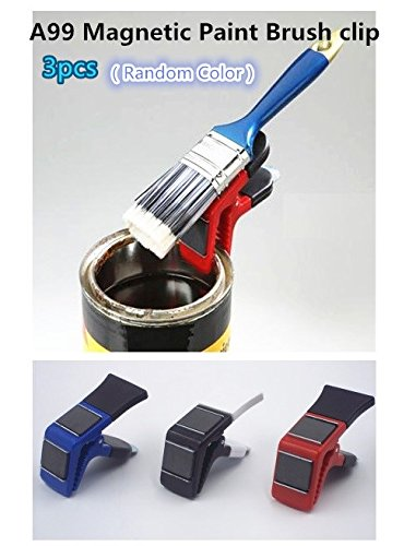 3pcs/pack Magnetic Paint Brush holder clip with Tin Opener Painiters DIY Tools Random Color ()