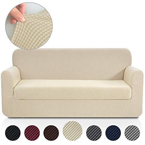 Rose Home Fashion Jacquard Stretch 2 Separate Pieces Sofa Cover, Sofa Slipcover with Separate Cushion Cover Couch-Polyester Spandex Sofa Slipcover&Couch Cover for Dogs(Sofa: Beige)