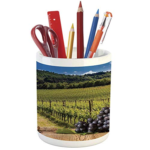 (Pencil Pen Holder,Winery Decor,Printed Ceramic Pencil Pen Holder for Desk Office Accessory,Red Wine Bottles with Grapes on Timber Board and Tuscany Italian Terrace Scenery)