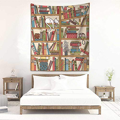 Godves Tapestry Wall Hanging Cat Nerd Book Lover Kitty Sleeping Over Bookshelf in Library Academics Feline Cosy Boho Design Living Room Background Decorative Painting 54