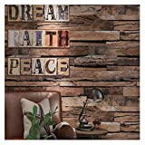 9101 Distressed Wood Plank Wallpaper Rolls,Faux Wooden Wallpaper Murals Kitchen Bedroom Living Room Cafe Wall Decoration 20.8in×32.8ft