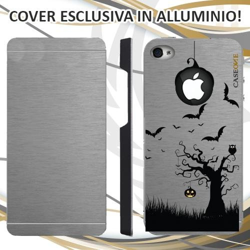 CUSTODIA COVER CASE HALLOWEEN BLACK PER IPHONE 4 ALLUMINIO TRASPARENTE