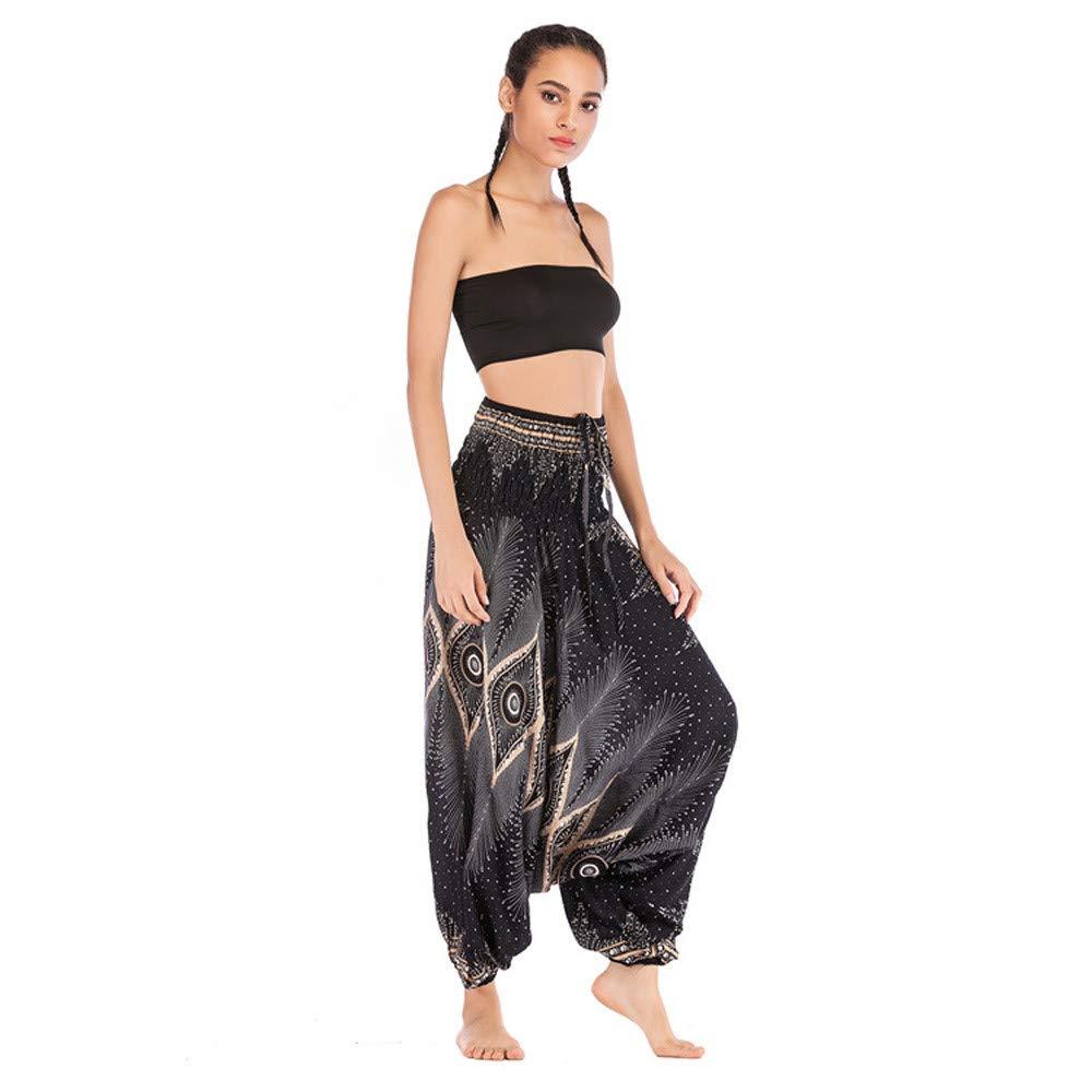 KEEYSUN Men Women Harem Trousers Boho Festival Hippy Smock High Waist Yoga Pants (Black, Free Size)