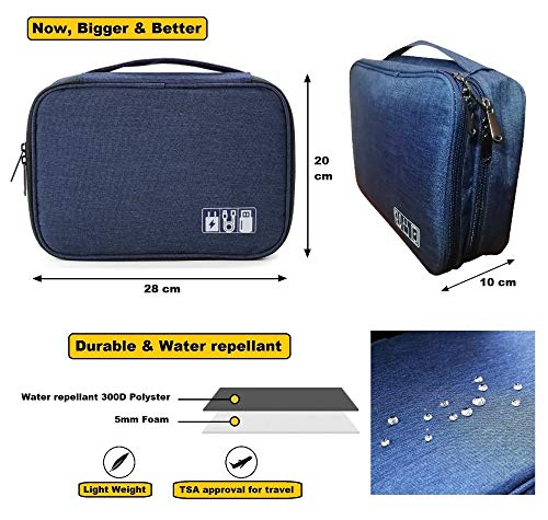 Sky Travel Electronics Accessories Organizer Bag, Universal Carry Travel Gadget Bag for Cables, Chargers and More, Perfect Size Fits for Pad Phone Adapter Hard Disk (28cm x 20cm x 10cm, Blue)
